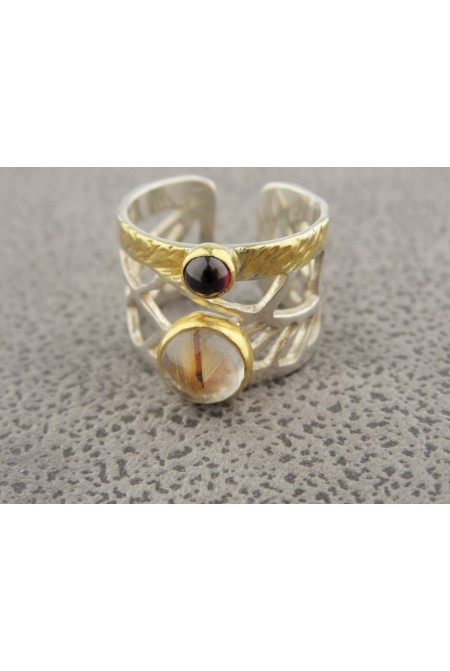 Handmade Adjustable Ring  925 Sterling Silver with a Rutilated Quartz and a beautiful GARNET  Gemstone , Rutilated Quartz Jewelry , GARNET Jewelry
