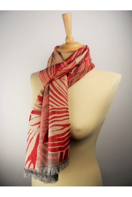 Womens Scarf with leaves  IN RED COLOR / Woolen  Winter Scarf  WRAP