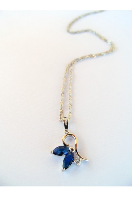 Elegant Necklace with blue Crystals  / Contemporary Crystal Necklace