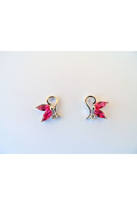 Elegant Modern Earrings with Shiny Red Crystals / Contemporary  Earrings / Small Earrings / Red Earrings