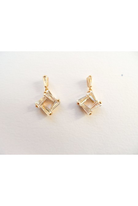 Wonderful Modern Earrings with Shiny Crystals / Elegant Earrings / Small Earrings