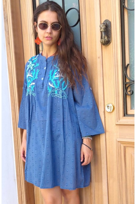 Top  - One size / Cotton top with embroidery in blue color / Mini dress /