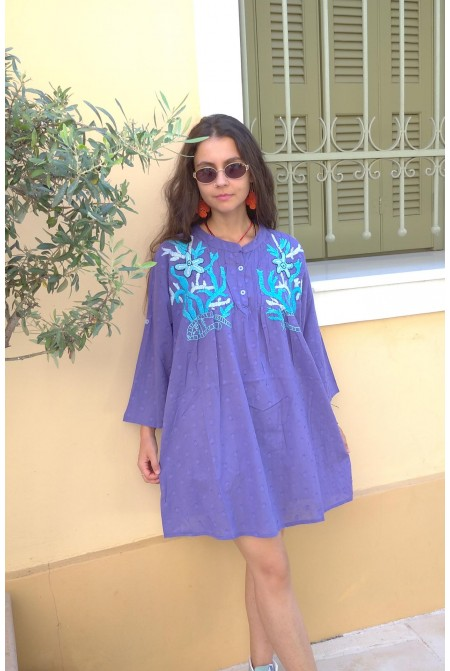 Top  - One size / Cotton top with embroidery in soft purple  / Mini dress /
