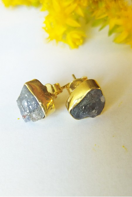 Handmade Sterling Silver Earnings with natural raw iolite
