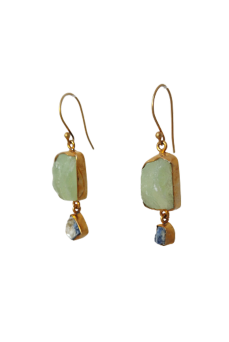 Sterling Silver Earnings with raw Prehnite and Kyanite
