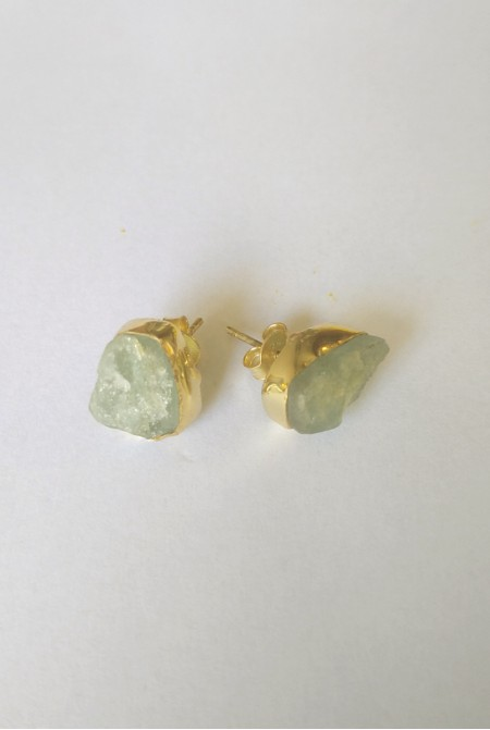 Handmade Sterling Silver Earnings with natural raw Αquamarine