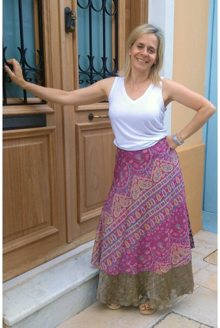 Reversible Impressive skirt / Silk Skirt /  One size up to XL