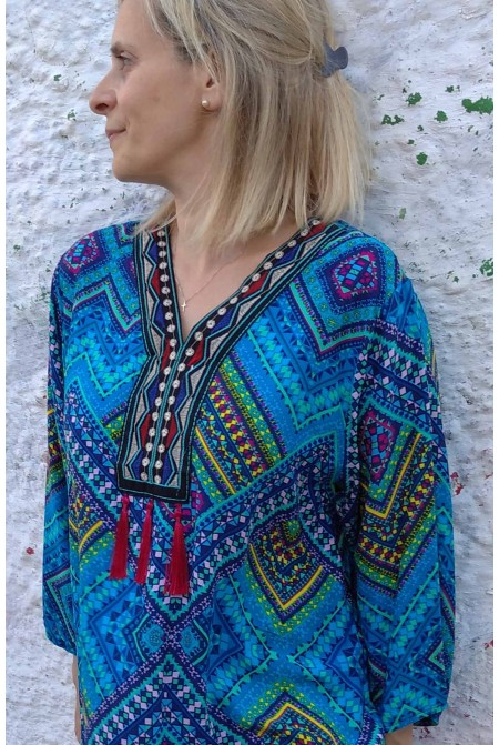 Boho style dress-Kaftan with handmade embroidery  - One size perfect up to  XL