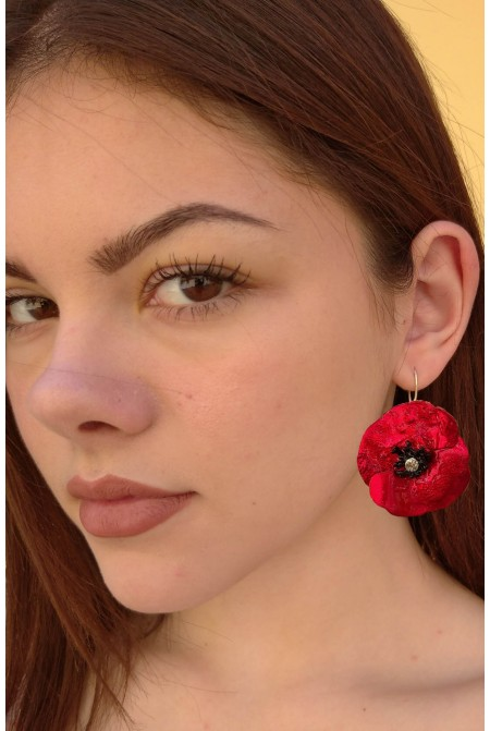 Astonishing Red Poppy earrings