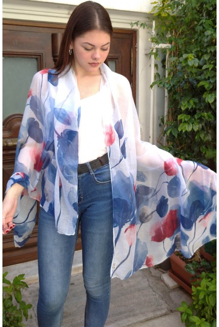 Elegant  Floral  Scarf  IN BLUE  COLOR / Womens cotton floral Scarf  / Blue Scarf Shawl, Womens Scarves Cotton, Scarf Wrap