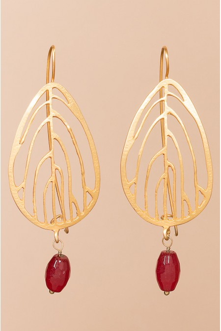 Sterling  Silver earrings with a  Coral