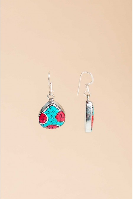 Boho earrings with corals and turquoise / Ethic earrings / Coral earrings / Turquoise earrings