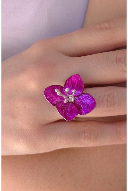 Elegant Flower Rings / Violet  Ring /