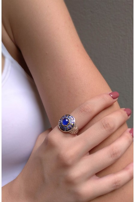 Beautiful  sterling silver ring with a lapis lazuli / Lapis Ring / Anniversary ring / Gift for her