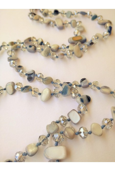 Beautiful Necklace made of mother of pearls and crystals