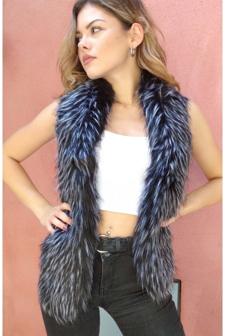 Luxurious faux fur scarf  in BLACK  color