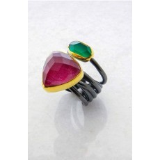 Contemprary Sterling Silver ring with big Ruby and a Jade  /  Anniversary ring / Gift for her