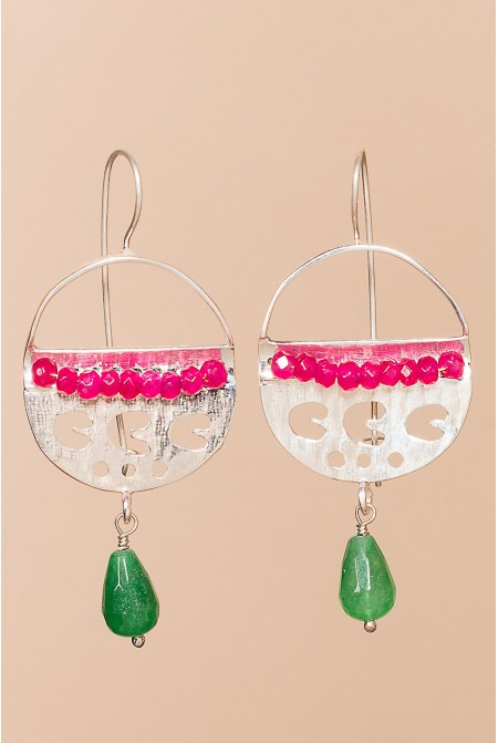 Modern 925 Sterling  Silver earrings with corals and jade