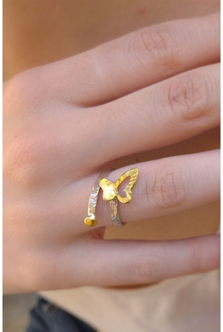 Silver  Ring with a butterfly  as a symbol of happiness and Renewal