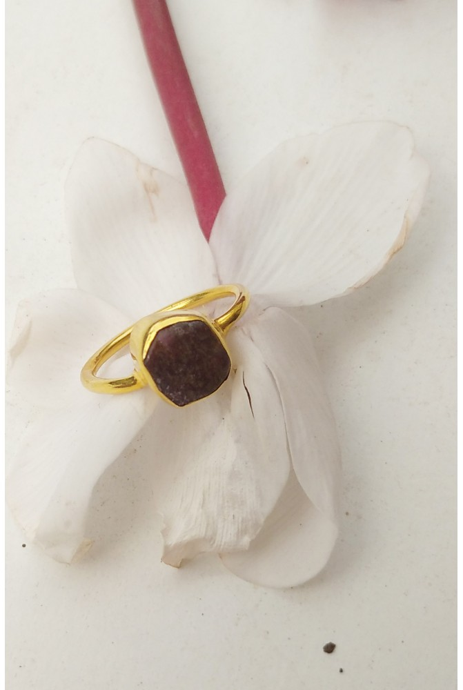 Sterling Silver Ring with a natural Ruby