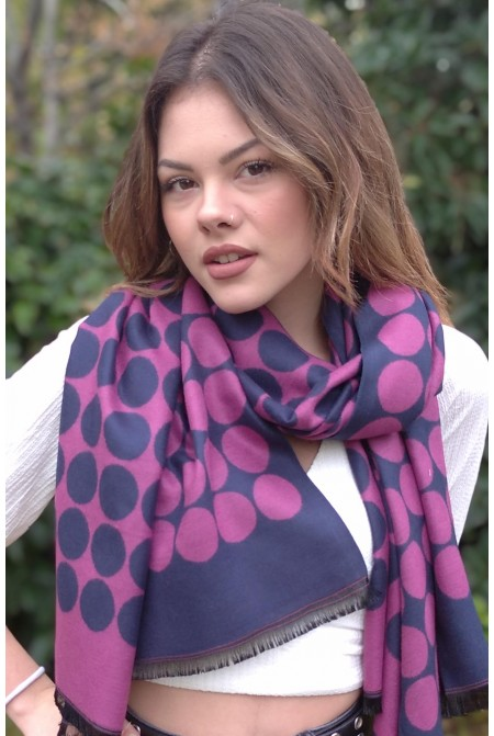 Womens  soft Scarf  in classic polka dot  IN BLUE AND CHERRY RED  COLOR  / Woolen  Winter Scarf  WRAP