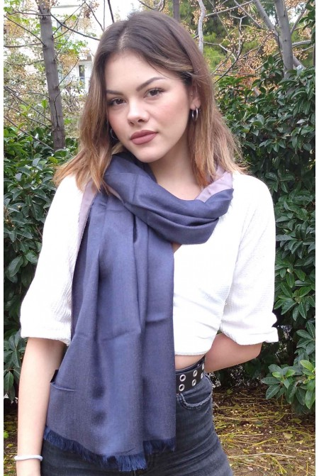 Unisex reversible Scarf    IN BLUE AND Grey  COLOR / Woolen  Winter Scarf  WRAP