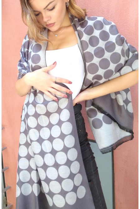Womens  soft Scarf  in classic polka dot  IN GREY    COLOR  / Woolen  Winter Scarf  WRAP . Polka dot Scarf