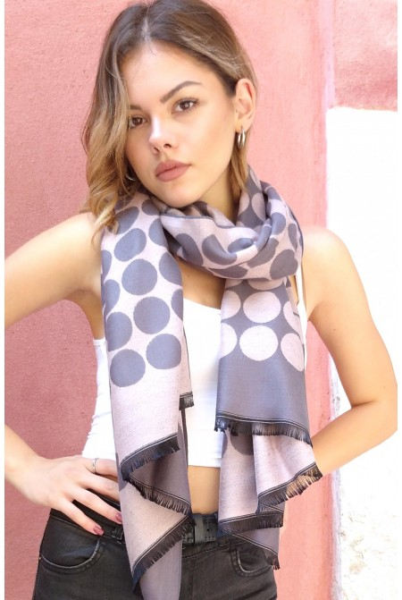 Womens  soft Scarf  in classic polka dot  IN GREY AND PINK COLOR  / Woolen  Winter Scarf  WRAP