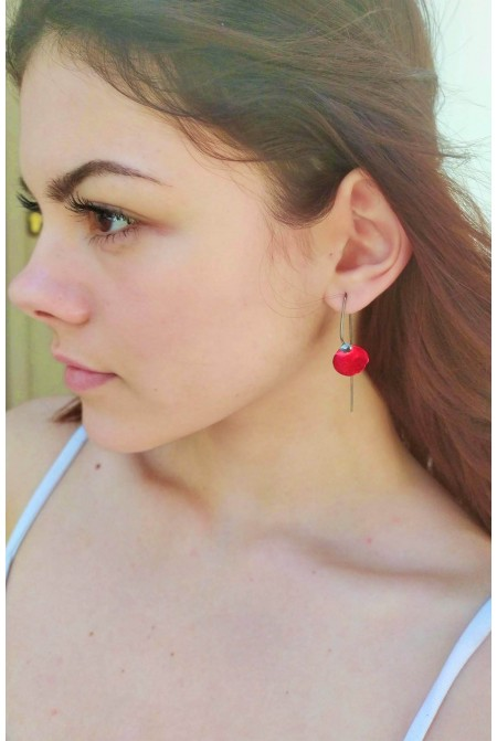 Astonishing Red Poppy earrings /