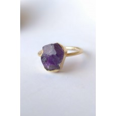Sterling Silver Ring with natural raw Amethyst