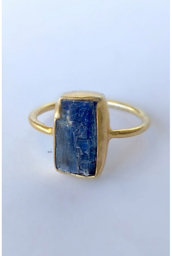 Sterling Silver Ring with natural raw Kyanite / RIng with natural raw gem stones / Gift for her / Anniversary gift /