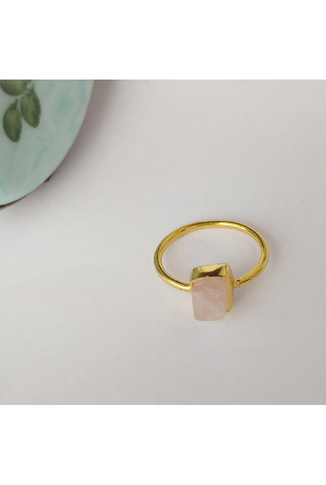 Sterling Silver Ring with natural raw Pink Quartz / RIng with natural raw gem stones / Gift for her / Anniversary gift /