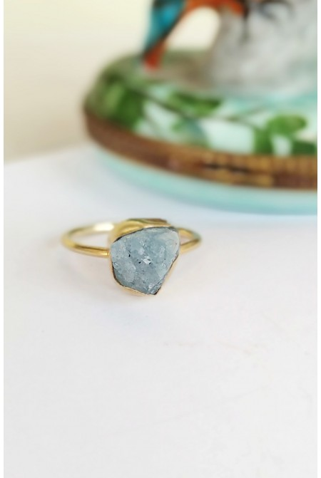 Sterling Silver Ring with natural Aquamarine gemstones