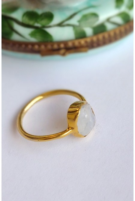 Sterling Silver Ring with natural raw Moonstone  / RIng with natural raw gem stones / Gift for her / Anniversary gift /