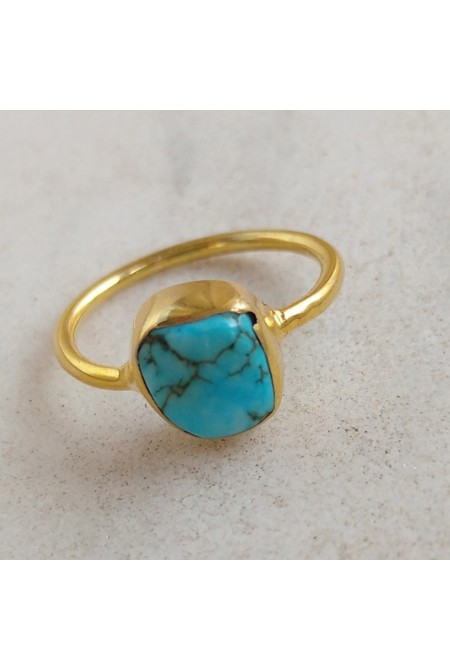Sterling Silver Ring with natural raw Turquoise / RIng with natural raw gem stones / Gift for her / Anniversary gift /