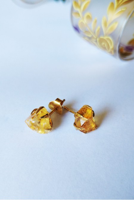 Handmade Sterling Silver Earnings with natural raw Citrine