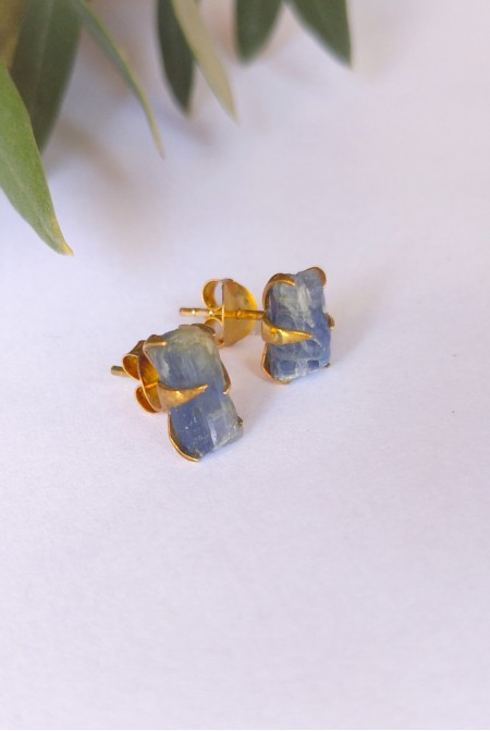 Handmade Sterling Silver Earnings with natural raw Kyanite