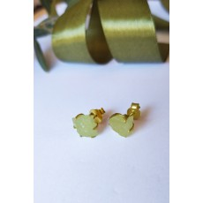 Handmade Sterling Silver Earnings with natural raw Prehnite