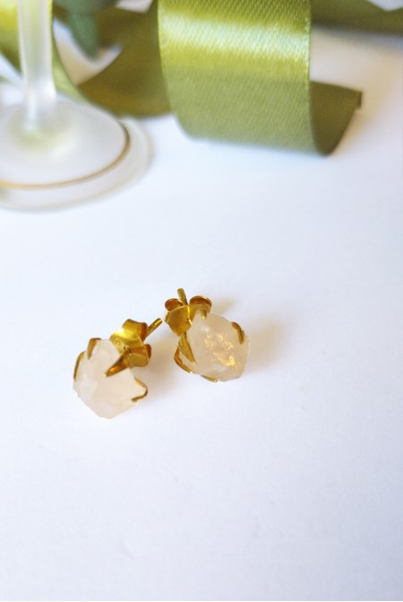 Handmade Sterling Silver Earnings with natural raw Pink Quartz