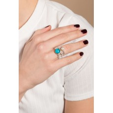 Handmade Sterling Silver Ring with an  Turquoise and Pearl