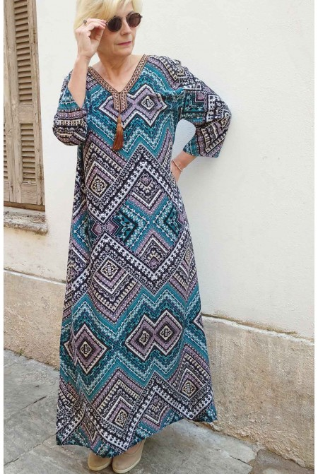 Boho style dress  with handmade embroidery  - One size perfect up to  XL