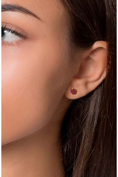 Handmade Sterling Silver Earnings with natural raw Ruby